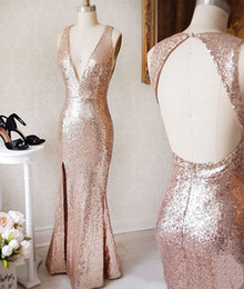 $enCountryForm.capitalKeyWord Australia - Sparkly Rose Gold Paillette Sequin Prom Dresses Sexy Side Slit Deep V Neck Open Back Evening Formal Gowns Fitted Cheap Cocktail Party Dress