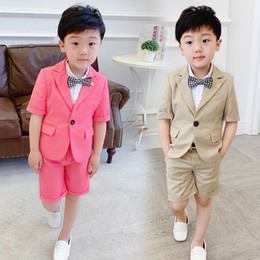 284361e41048 Fashion Casual Suit for Boy Short Sleeve Coat + Shorts 2pcs Set Baby Boys  Suits for Wedding Kids Boys Blazer Suits Summer 2019