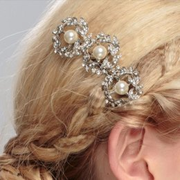 Bridal Hair Comb Clip Rhinestone Australia - Female Rhinestones Olive Branch Faux Pearls Hair Comb Clip Wedding Bridal Alloy Hair Pin Women Jewelry Styling Brush Girl Gifts