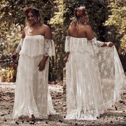 $enCountryForm.capitalKeyWord NZ - Vintage Bohemian A-line Wedding Dresses Off Shoulder Full Lace Flowy Skirt Outside Country Garden Bridal Wedding Gowns