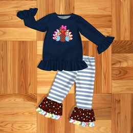 Wholesale Girl leisure clothe or Baby clothe set turkey and stripes Pattern Girl s clothes ZGK907 HY
