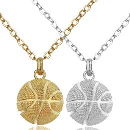 Mens Vintage Necklaces Australia - mens necklace hip hop jewelry with iced out chains silver plated Vintage Titanium steel basketball pendant necklace jewelry -P