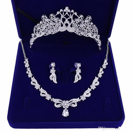crow jewelry UK - Peacock Wedding Crows Wedding Accessories Bridesmaid Jewelry Accessories Bridal Accessories Set With Box(Crown + Necklace + Earrings)