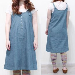 blue sleeveless overalls NZ - Celmia 2019 Summer Women Denim Blue Dress Solid Strap Vestidos Vintage Casual Loose Buttons Sleeveless Overall Plus Size Dresses