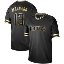 b79afcdb9 Mens San Diego Black Gold 13 Manny Machado 4 Wil Meyers 19 Tony Gwynn 7  Manuel Margot 30 Eric Hosmer Hunter Renfroe Padres Baseball Jerseys