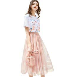Young Girl Shirts Australia - 2019 Summer New Short Sleeve T-shirt+skirt Womens Two Piece Set Fashion Sweet Young Girl Set Summer Casual Printed Tees Mesh Skirt