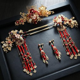 chinese hairpins Australia - Chinese fashion style national ladies girls marriage vintage crown headdress hair jewelry bride wedding hairpin festival gift