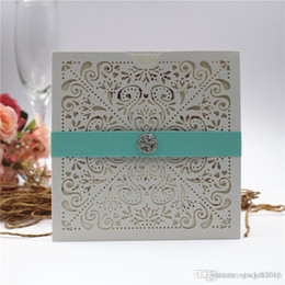 Wedding cards invitation diamonds online shopping - Shimmy Wedding Invitations Laser Cut Flower Pocket Invitation Cards for Party with Diamond Belly Belt More Color Free Pri