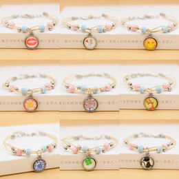 $enCountryForm.capitalKeyWord Australia - DAIHE Time Gemstone Bracelet Glass Bead Bracelet Jingdezhen Ceramic Bracelet Hand-knitted Four-leaf Grass Explosion Wholesale