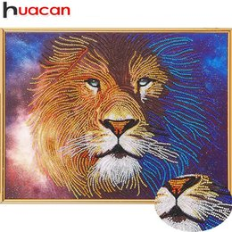 mosaic animals 2019 - wholesale Diamond Painting Special Shaped Lion 5D DIY Diamond Embroidery Animal Picture Of Rhinestones Mosaic Wall 40x50