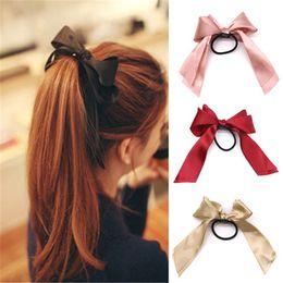 $enCountryForm.capitalKeyWord Australia - Women Rubber Bands Tiara Satin Ribbon Hair Bow Elastic Hair Band Rope Scrunchies Ponytail Holder Gum for Girls Hair Accessories FJ467