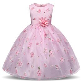 party clothes for little girls UK - Flower Girl Dress Princess Pink Children Girl's Dresses Baby & Kids Clothing Kids Dresses For Girls Party Little Girl Clothes For 4 5 6 7 8