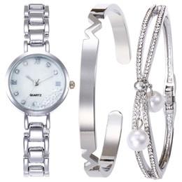 $enCountryForm.capitalKeyWord NZ - Luxury Rhinestone Steel Strip Watch Set Alloy Bracelet Watch Set For Women Dropshipping 2019 New Fashion Jewelry Gifts Watches