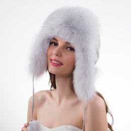 Genuine Sheepskin Leather NZ - Real Fox Fur Bomber Caps Winter Genuine Real Fox Fur Bomber Hat Women 100% Natural Real Sheepskin Leather Cap Russia Warm D19011503