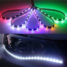 "Car Lights NZ - 30cm Car Flexible LED Strip Light High Power 12V 11.8"" 15SMD Waterproof LED Daytime Running Light Decorative Car DRL"