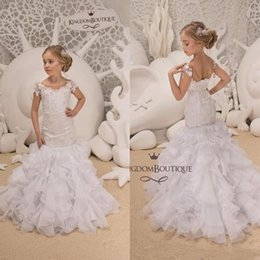 Corset dresses little girl online shopping - Cute Little White Short Sleeve Mermaid Flower Girl Dresses Sheer Neck Lace Appliqued Tiered Skirts Corset Back Kids Formal Wear