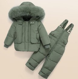 18 month old clothes online shopping - 2019 New Baby Boy Winter Thick White Duck Down Children s Clothing fluffy Warm Two piece Jacket Set With Removable Strap Pant years old