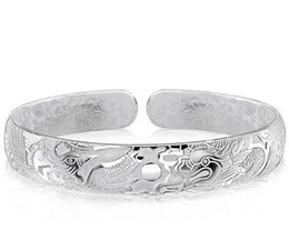 sterling silver open bangle bracelets Canada - Dragon Bangles For Men Women Boy New Chinese Style 925 Sterling Silver Open Bangles White Gold Plated Charms Bracelet ps0026