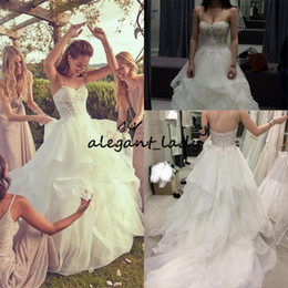 Sexy Sparkle princeSS wedding dreSS online shopping - Layered Organza Ruffles Wedding Dresses Sparkling Beaded Lace Bodice Spaghetti Straps Garden Church Wedding Dress Bridal Dresses
