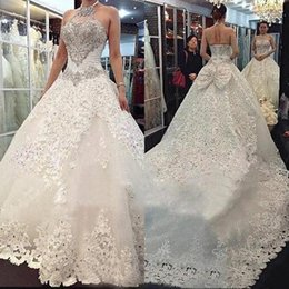 Ruched Halter Wedding Dresses Australia - 2019 Luxury Halter Ball Gown Wedding Dresses with Blink Crystals Beads Lace Appliques Custom Made Bridal Gowns