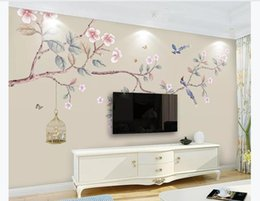 chinese hand paintings Australia - Customized 3D photo mural wall paper New Chinese style hand-painted flowers and birds HD living room TV background wall painting decoration