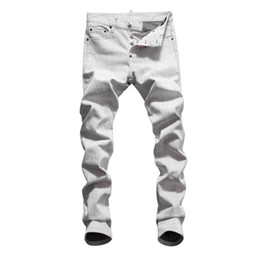 f5264a44f6 Hot 2019 Men Ripped Denim Tearing Jeans blanco algodón moda Tight primavera  otoño pantalones hombre A8073 PHILIPP PLEIN DSQUARED2 DSQ2 D2