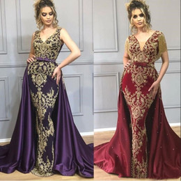 Wholesale sexy wine dresses resale online - Yousef Aljasmi Mermaid Purple wine Evening Dresses With Overskirt arabic Indian formal mermaid prom dress Gold Lace Tassel Wear Gowns