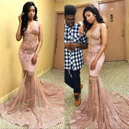 See through dreSS girlS pictureS online shopping - Black Girls K19 Prom Party Dresses Mermaid Spagehtti Straps Beads Sequins Appliques Long See Through Celebrity Evening Gowns