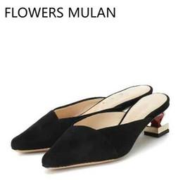 Black Blocks Australia - Luxury Black Brown Blue Suede Slippers Women Pointed Toe Slip On Zapatos De Mujer Strange Block Heels Ladies Mules Brand Loafers