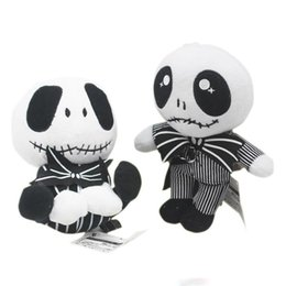 Doll Skeletons Australia - The Nightmare Before Christmas Jack Skellington Sally Black Skeleton Skull Plush Toy Stuffed Doll Halloween Gift