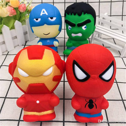 spiderman toys free 2019 - Squishy Cartoon Character Squishy Phone Pendant Slow Rising Captain America Hulk Spiderman Iron Man squishies DHL Free S