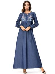 73849b4e3bc99 Spring Long Sleeve Denim Maxi Dress Women Flowers Embroidery Long Autumn  Jeans Dress Islamic Clothing Muslim Abaya Plus Size 4XL