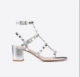 studs sandals Australia - Designer Pointed Toe Studs Patent Leather rivets Sandals Women Studded Strappy Dress Shoes valentine 10CM 6CM high heel Shoes 6541