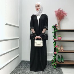 dubai abaya design 2019 - Muslim Women Black Lace Kimono Dress with Belt S-2XL Plus Size Middle East Women Dubai Abaya Design cheap dubai abaya de