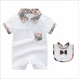 $enCountryForm.capitalKeyWord Australia - 2 Pcs Set Baby Boys Girls Brand Clothes Kids Rompers+Bib Turn-down Collar Infant Baby Clothing Sets Summer Toddler Newborn Suits Outfits