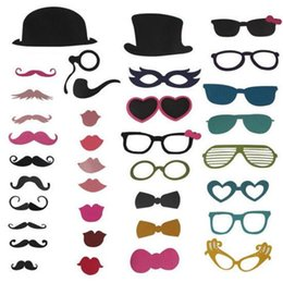 wedding stick photo props UK - New 2015, 36 pcs lot Photo Booth Props Hat Mustache Glasses Lips On A Stick Wedding Birthday Party Fun Favor