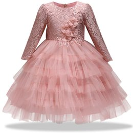 dresses states UK - 2018 States Spring Autumn New Children's Halter Dress Girl Big Bow Baby Flower Girl Lace Applique Long Sleeve Princess Dress Y19061101