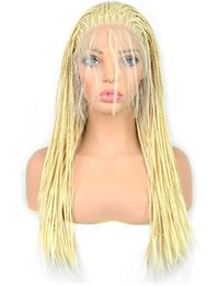 $enCountryForm.capitalKeyWord Australia - Blonde Micro Braided Lace Front Wig Half Hand Tied Synthethic Hair Heat Resistant Hair Braided Wigs Free Part with Baby Hair for Women
