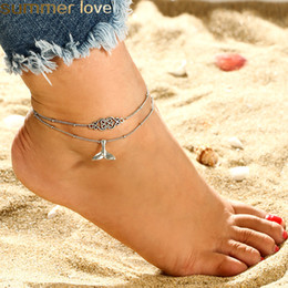Wholesale Bohemian set Mermaid Tail Anklet Handmade Multi Layer Heart Whale Tail Pendent Anklet Bracelets for Women Barefoot Beach Jewelry Gift