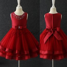 Red Birthday Dresses Australia - 2019 New Red Flower Girls Dresses For Weddings Jewel Neck Ball Gown Tulle Bow Birthday Children Girl Pageant Gowns