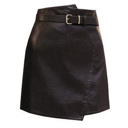 $enCountryForm.capitalKeyWord UK - Women's A Line Leather Skirt 2018 New Autumn Winter Irregular Soft PU Mini Skirts Female High Waist Slim Shorts with Belt WF63