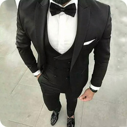 casual groom tuxedo Australia - Black Gentle Groom Wear Men Wedding Tuxedos Suits Blazer 3Piece Wide Peaked Lapel Male Jacket Trousers Vest Casual Menswear Prom Party