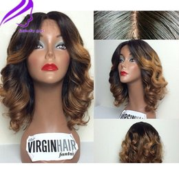 Wholesale sexy women machine resale online - Sexy Ombre blonde wig short lace front wigs for black women X4 Wavy Lace Front Wig Brazilian Wigs Synthetic Hair