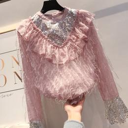 $enCountryForm.capitalKeyWord Australia - Shirt Woman Korean Style Spring Student New Fashion Sequins Hair Tassels Stand Collar Flare Sleeve Shirts Blouse Lady Blusas