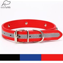 dog leash black NZ - [GIIWIN] Adjustable Pet Dog Collar Leash PU Leather Reflective for Dogs Cat Black Red Bone Neck Strap Dog-Collar Harness JW0031