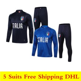 men pants italy Australia - 2018 national team Italy soccer tracksuit 18 19 italia Football uniform BUFFON DE ROSSI long sleeve jogging training suit tight pants