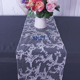 elegant table runners Australia - RU038A Elegant cheap price discount new pattern unique design wedding glitter embroidery floral table runner