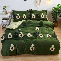 black pink adult bedding UK - Fruit Cartoon Bedding Set for Kids Adult Duvet Cover Green Home Textiles Bedclothes King Queen Size Printing 3 4pcs Flat Sheet