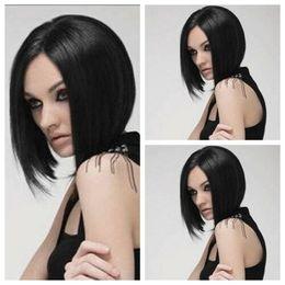 $enCountryForm.capitalKeyWord Australia - Fashion Woman's Short straight bob black Sexy Party Cosplay Synthetic Full Wigs
