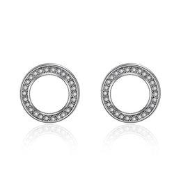 Copper Earrings Australia - Round Stud Earrings Vintage Circular Ring Zircon Silvery Copper Plated Stud Earrings Women Design Jewelry Statement Stud Earrings